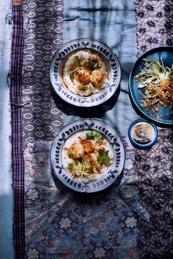 Roasted scallops & congee with chilli oil by Ravinder Bhogal.