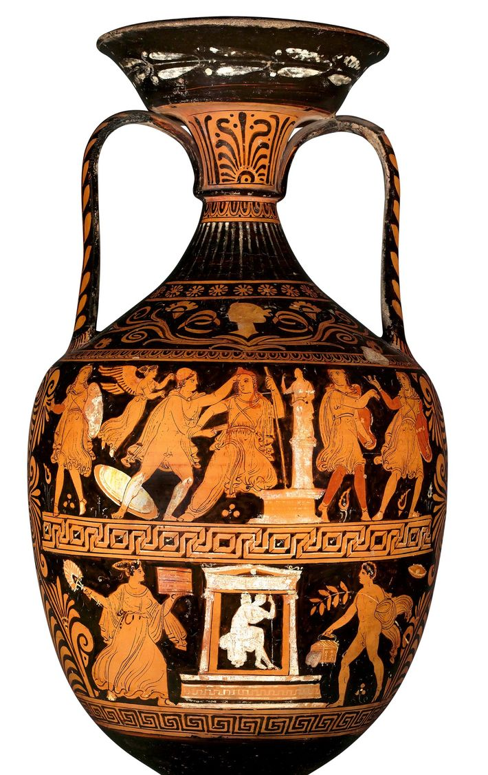 The upper section on this amphora shows the death of Trojan king Priam. In accounts written ...
