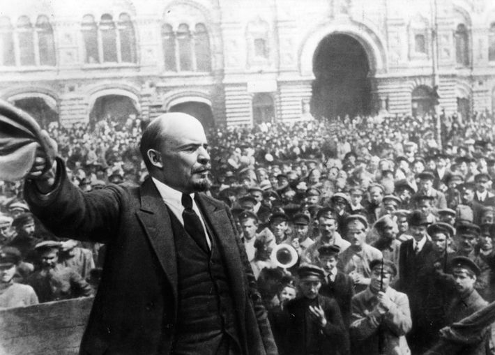 Russian leader Vladimir Lenin speaking to servicemen on the first anniversary of the foundation of the ...