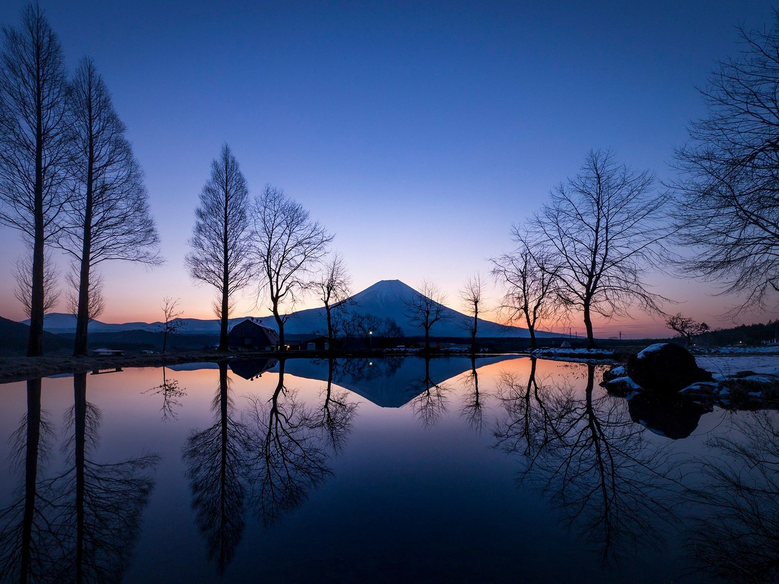 A purple sky at dawn reflects off of a small pond in front of Mount Fuji.