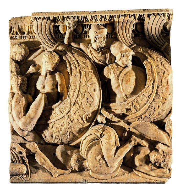 A second-century A.D. Roman relief of a sea battle was produced when Rome's naval supremacy had ...