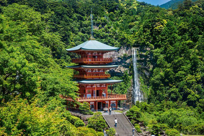 Nachisan Seiganto-ji Temple and the Nachi Falls is located on the Kumano Kodō pilgrim trail network.