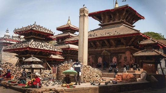 Earthquake rubble in the UNESCO-listed Durbar Square in Kathmandu