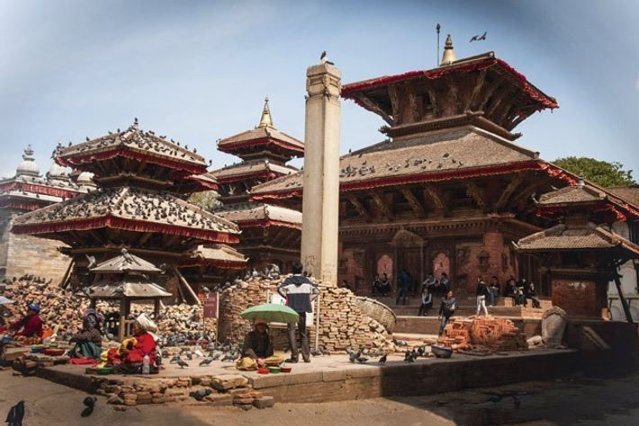 Earthquake rubble in the UNESCO-listed Durbar Square in Kathmandu