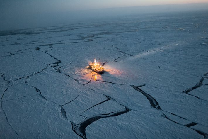 To track changes in sea ice, the Norwegian research vessel Lance drifted along with it for ...