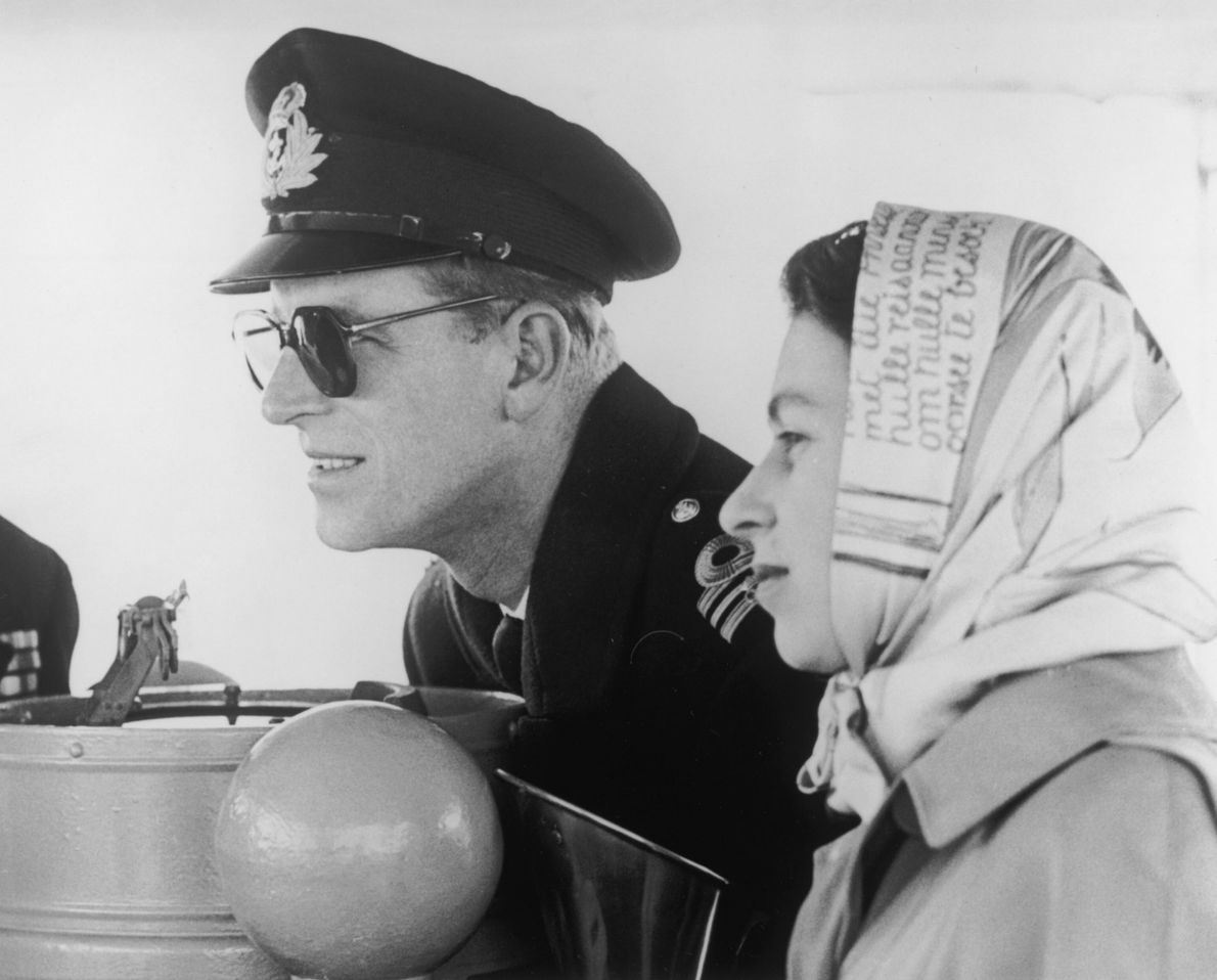 The Duke of Edinburgh and Queen Elizabeth II sail to British Columbia during a Commonwealth tour ...