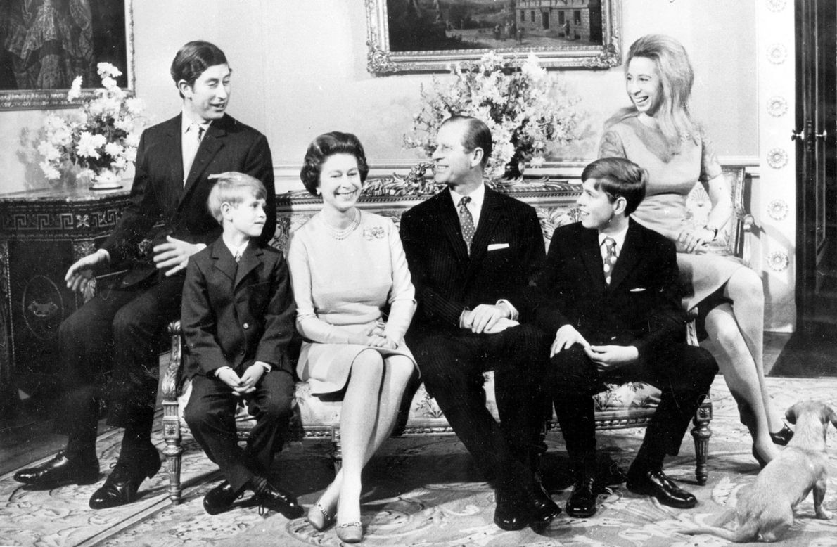 Queen Elizabeth II and Prince Phillip, centre, had four children from left, Charles, Edward, Andrew, and ...