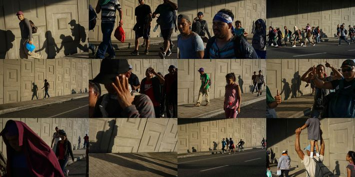 Immigrants from El Salvador walk along a highway en route to Tapachula, a city near the ...