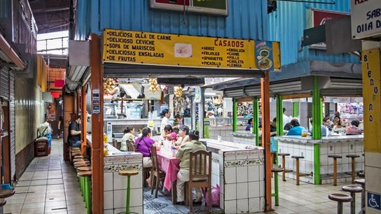 A restaurant at Central Market, San Jose, Costa Rica. Image: Getty