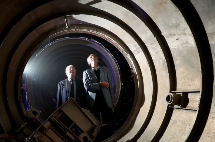 Former engineers Derek Mack (left) and Mike Kelloway, both from the Isle of Wight, view the ...
