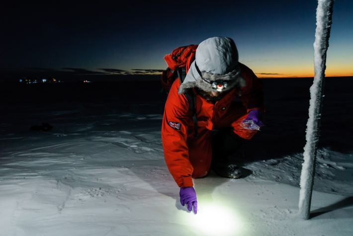 Meteorological observations continue throughout the year. Here, Meteorologist Richard Warren of the British Antarctic Survey collects surface ...