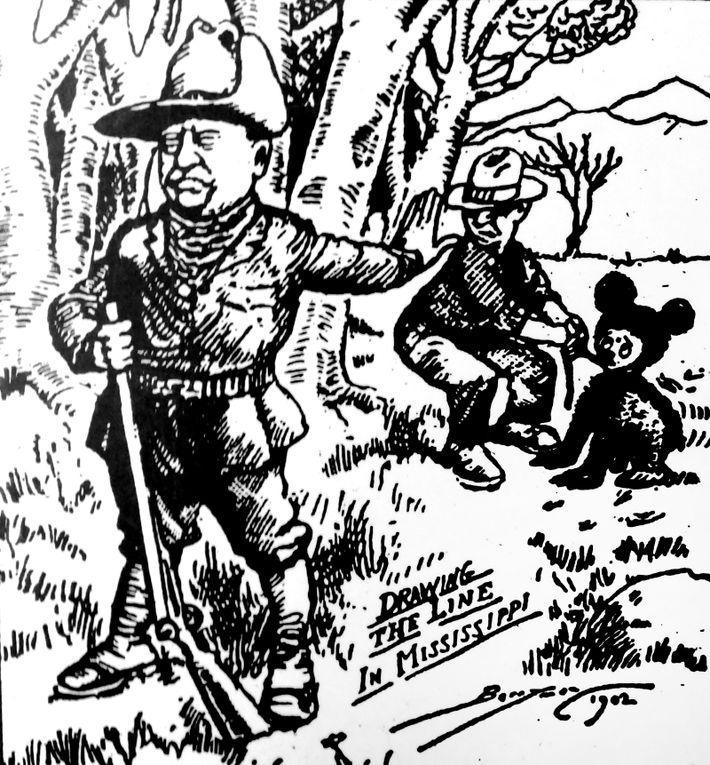 Theodore 'Teddy' Roosevelt refusing to shoot a bear, was satirised in this 1902 cartoon the The Washington ...