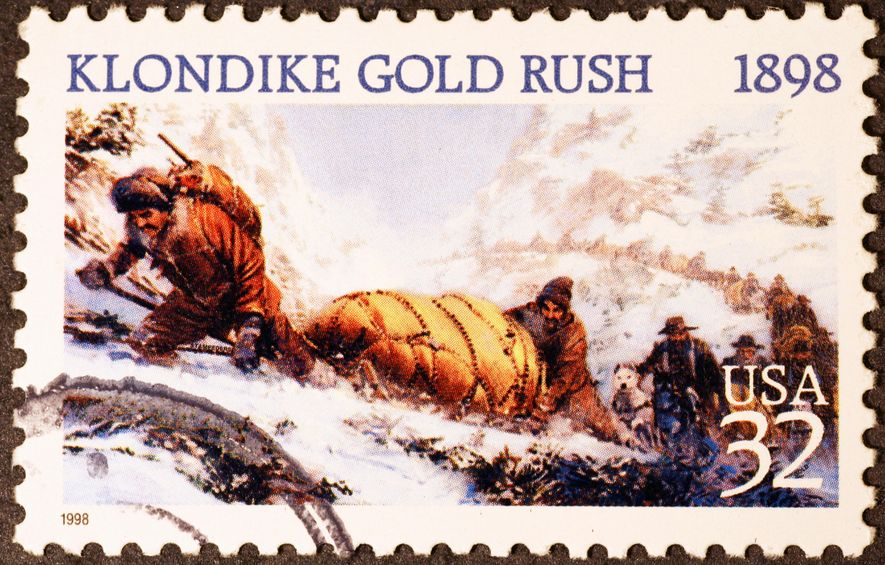 An image from a postage stamp commemorates the rigours of the gold rush that drew Jack ...