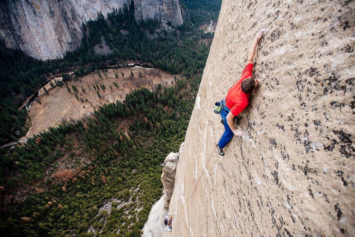 Tommy Caldwell free climbs El Capitan's Dawn Wall.