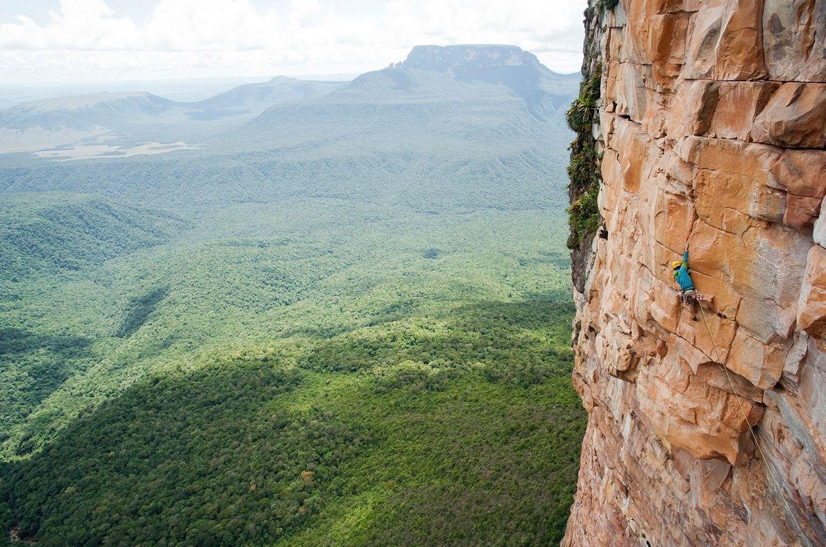 Climber Nicolas Favresse scales Tepuy in Venezuela, 1,650 feet (500 meters) up.