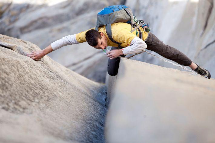 "Alex Honnold solos ""The Nose"" on El Capitan in Yosemite National Park, California."