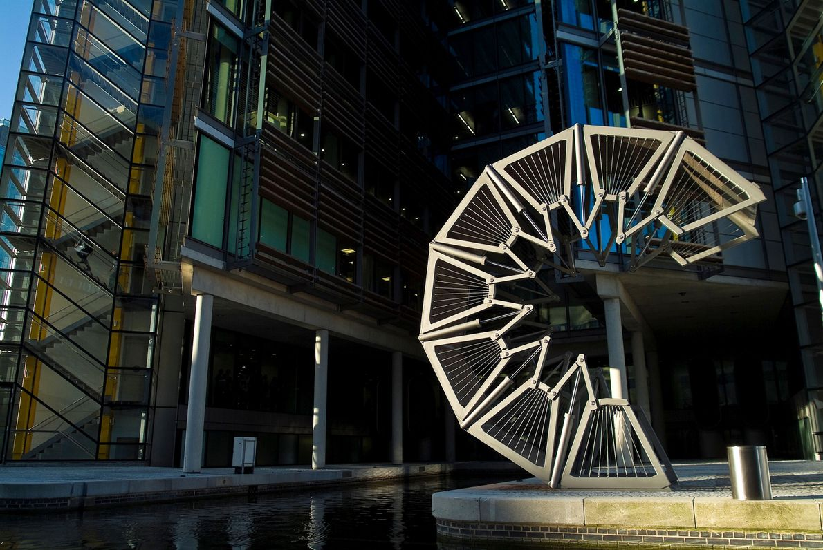 Completed in 2004, Heatherwick Studio's Rolling Bridge provides access to the Grand Union Canal in London's ...