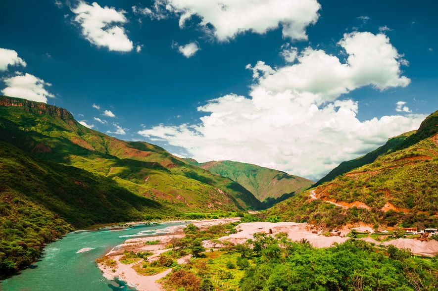 The Chicamocha River flows through Colombia's Chicamocha Canyon.