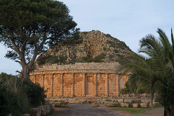 The royal mausoleum at the Tipasa Archaeological Park in Algeria is believed to have held the ...