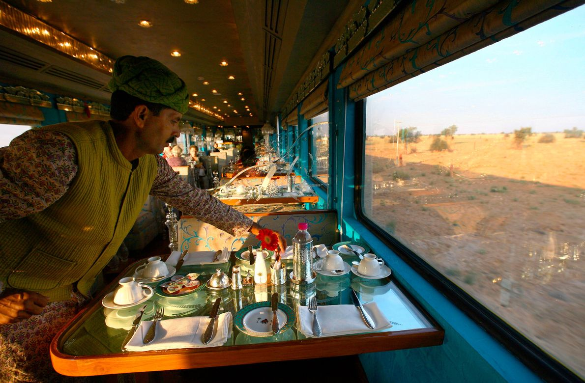 A mobile palace complete with onboard spa, Royal Rajasthan on Wheels highlights India's temples, forts, and ...