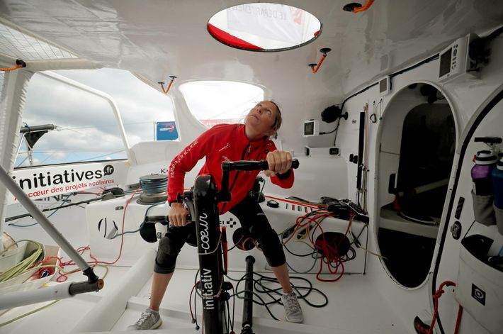 Samantha Davies trains for the 2020 race. Sailors spend an average of three months alone at ...