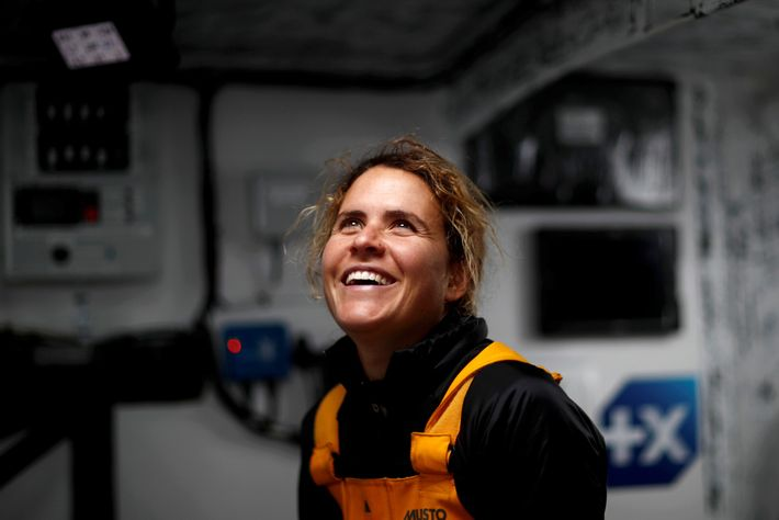 French skipper Clarisse Crémer enjoys a stress-free moment on her Banque Populaire X sailboat. The Vendée ...