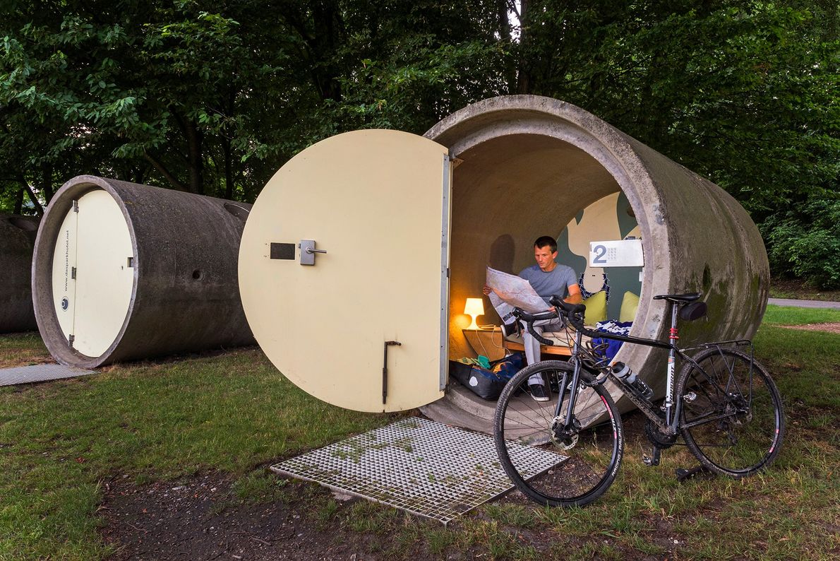 Visitors can spend the night in a concrete sewage pipe at the pay-what-you-can Parkhotel in Berne ...