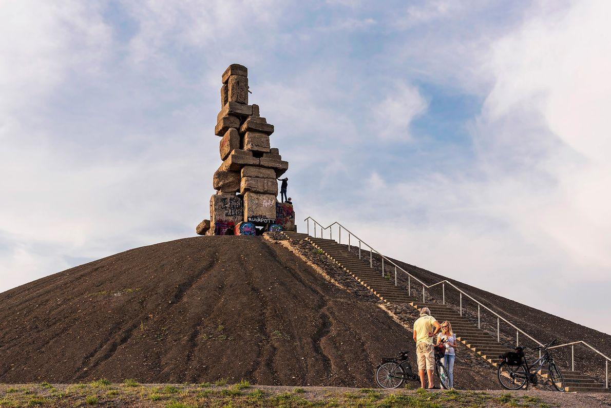 "Herman Prigann's concrete sculpture ""Stairway to Heaven"" tops a mine dump in Gelsenkirchen."