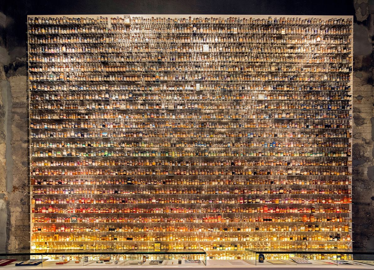 """A collection of medicine bottles fills a display at the """"Age of Coal,"""" a temporary exhibit ..."""