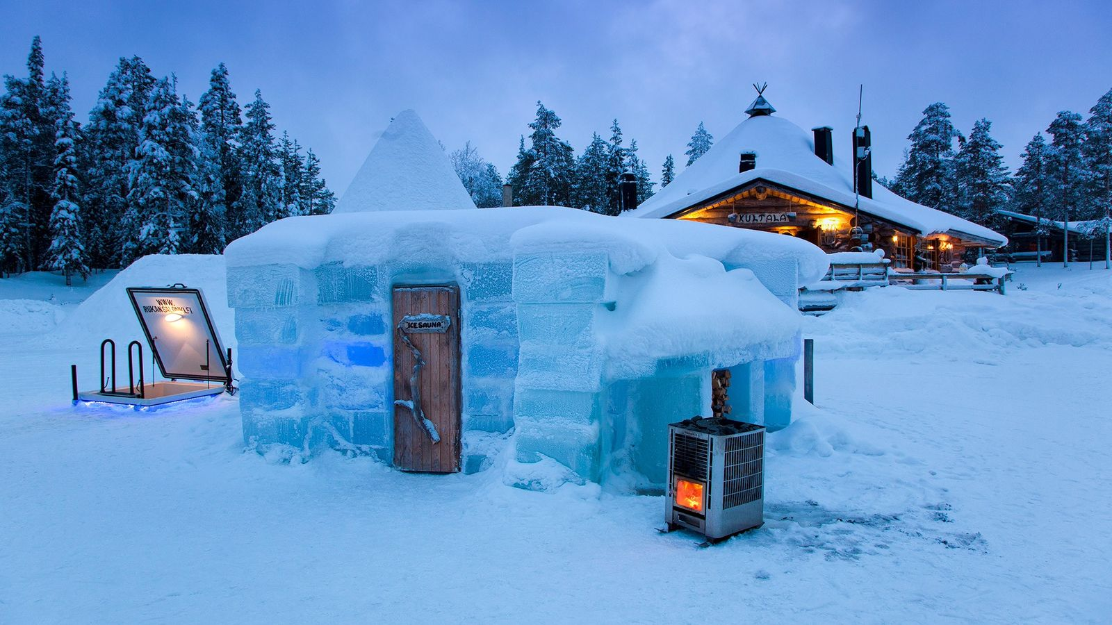 Created with the surrounding ice, the Rukan Salonki ice sauna combines hot and cold for healing ...