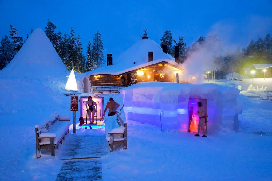 The Rukan Salonki's ice sauna has a nearby hole in the lake for people to use ...