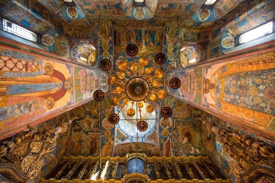 Frescoed interior of the Church of St Elijah the Prophet, in Yaroslavl. Image: Daniel Allen