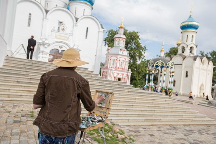 An artist at work at Trinity Lavra of St Sergius monastery.