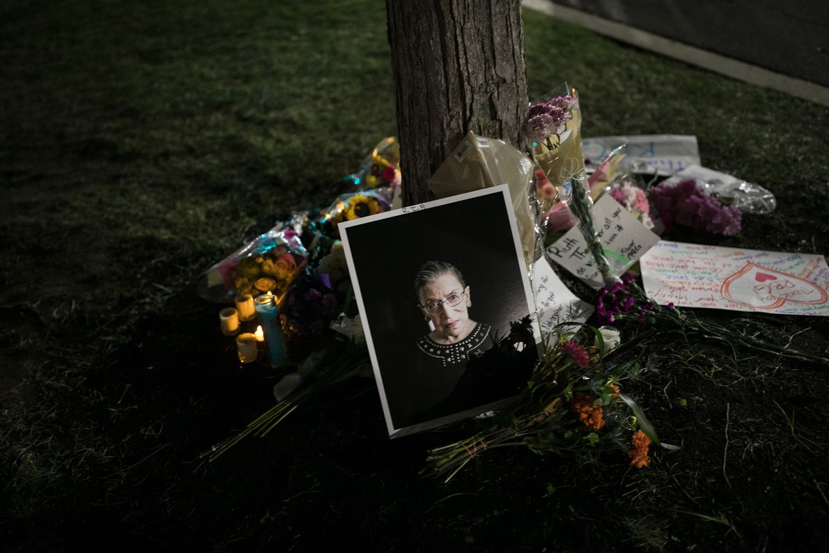A makeshift memorial honors Justice Ruth Bader Ginsburg outside of the Supreme Court in Washington, D.C., ...