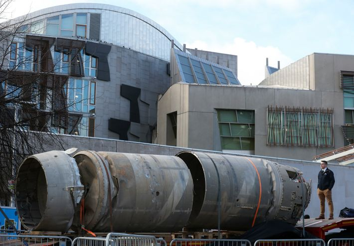 The Black Arrow rocket passes the Scottish Parliament on its way to the Skyrora offices on ...
