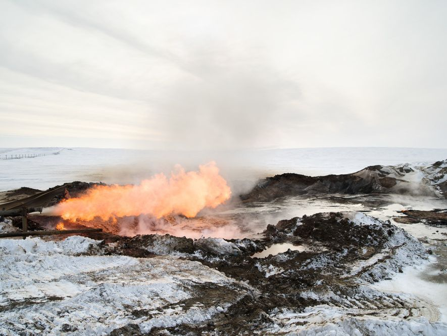 Gas burns at a drill site on the Yamal Peninsula. During drilling here and elsewhere in ...