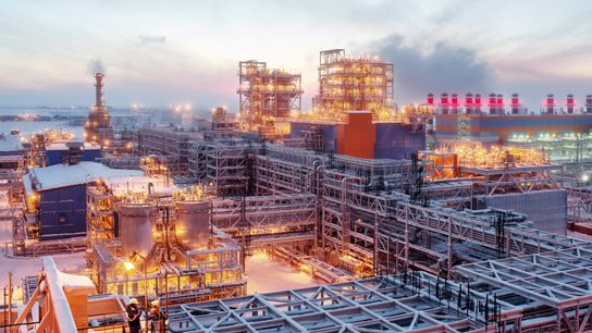 At sunset, when the lights come on at the Sabetta plant, it looks almost like a ...