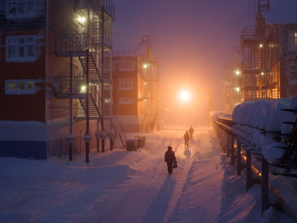 Workers live in several villages at Sabetta. The plant stays open year-round, shipping LNG from its ...