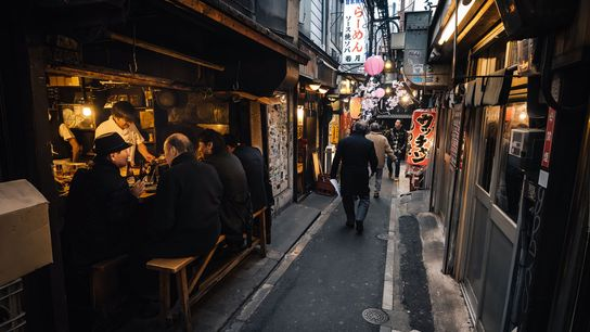 Shinjuku's Omoide Yokocho is a cluster of alleyways lined with yakitori grills and bars.