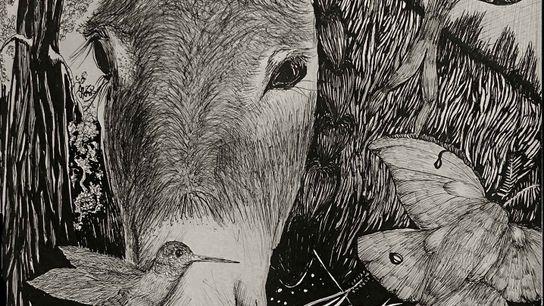 Arati Kumar-Rao, one of journalist Paul Salopek's walking partners, made this sketch of Raju, the tough ...