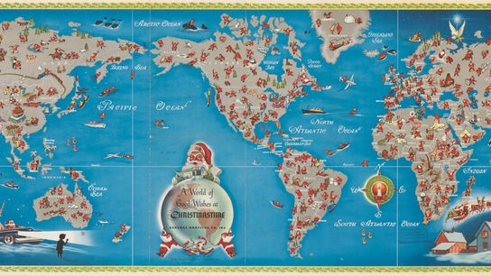 This 1950s Santa map is packed with fun details and dated cultural assumptions.