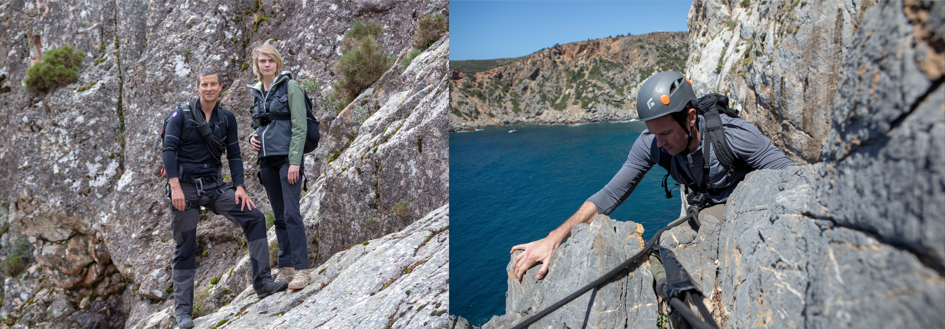 British model and actor Cara Delevigne with Bear Grylls in Sardinia's interior (left) while actor Armie ...