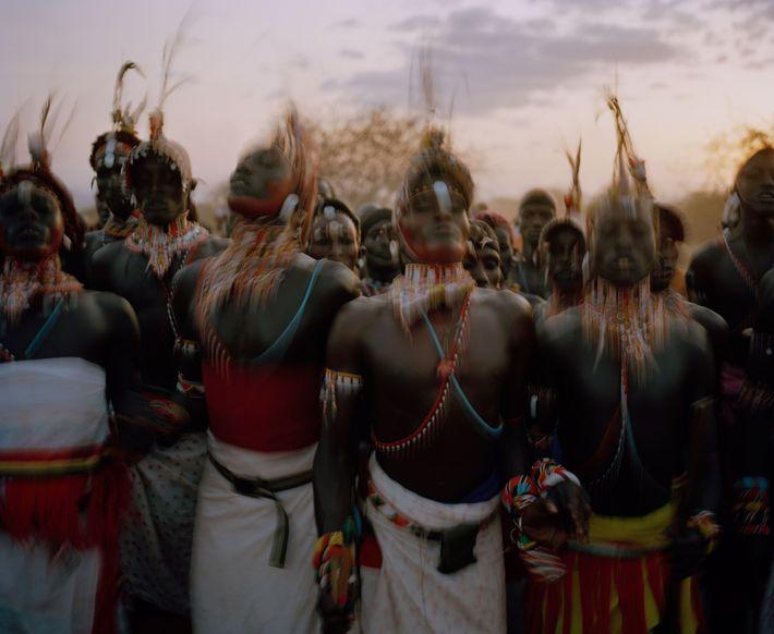 Samburu moran, or warriors, participate in Imuget le nkarna in Sasaab village in the Westgate Community ...