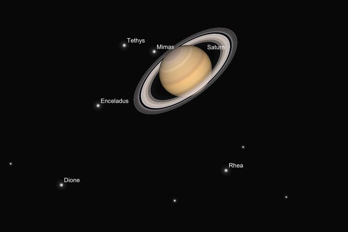 An illustration shows what Saturn and its moons should look like through a telescope in late ...
