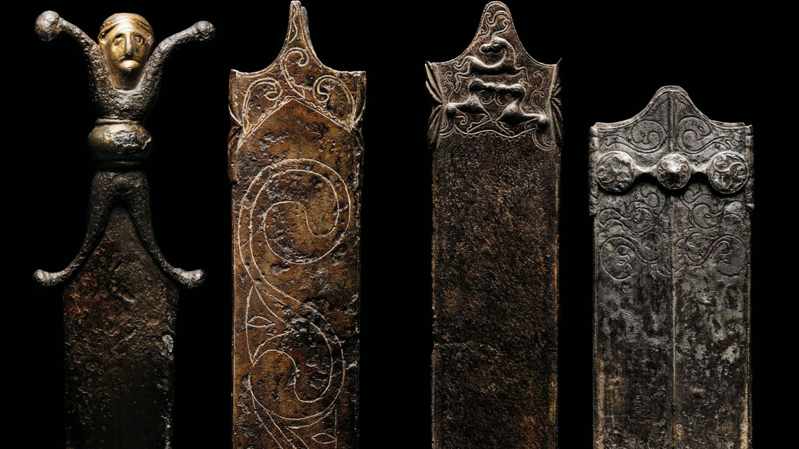 These iron and bronze scabbards were found in Switzerland, the product of the Celtic civilization known ...