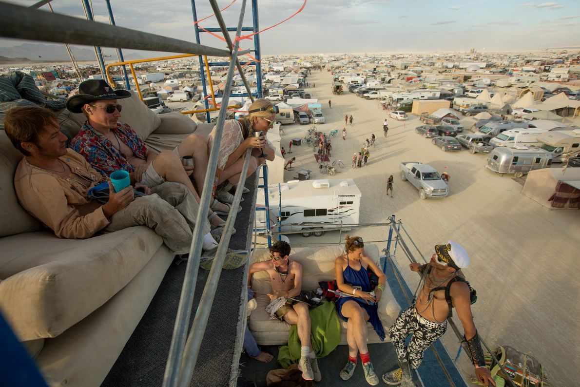 A group of attendees from around the world gather for drinks at the Altitude Lounge, which ...