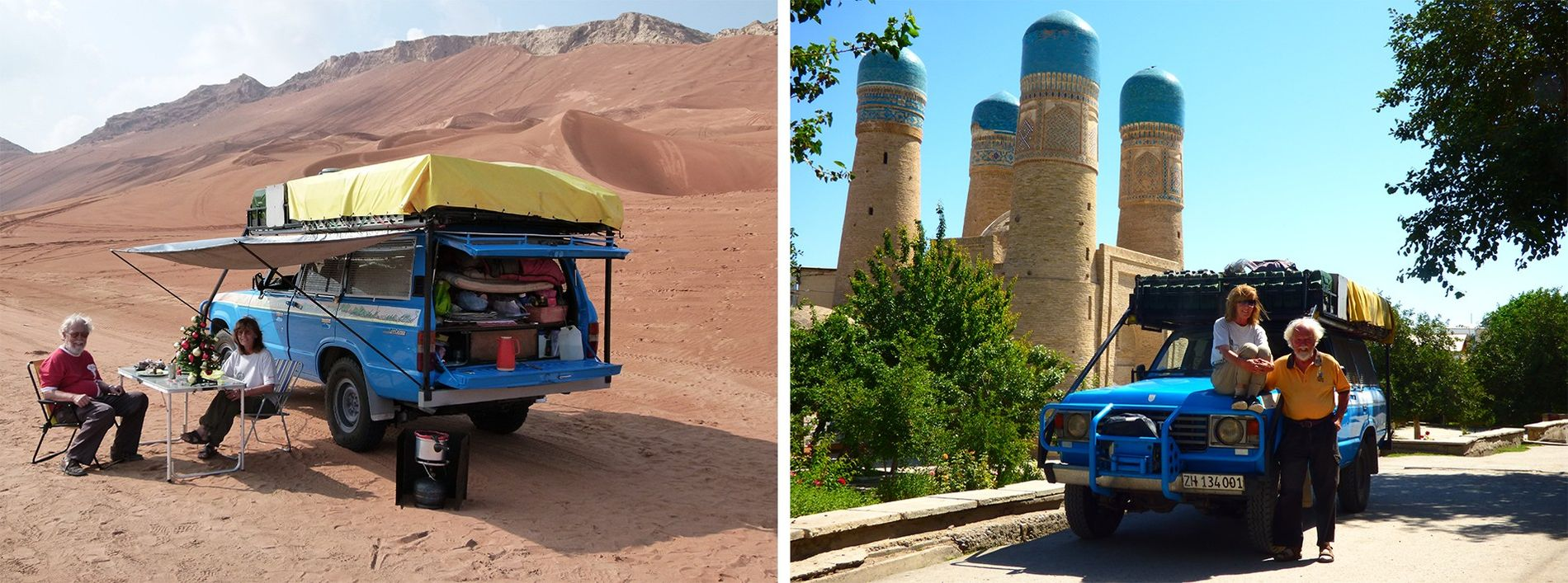 Scenes from the longest driven journey of all: the Schmids in Dubai for Christmas (left) and ...