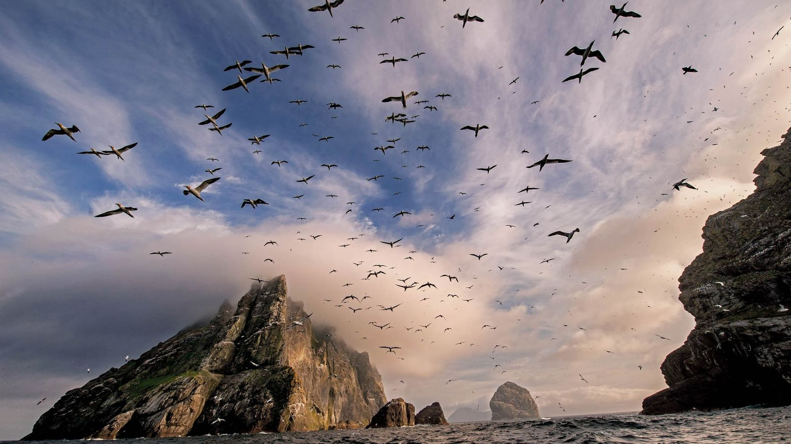 Scotland is wildest around islands such as cloud-wreathed Boreray, part of the St. Kilda archipelago, where ...