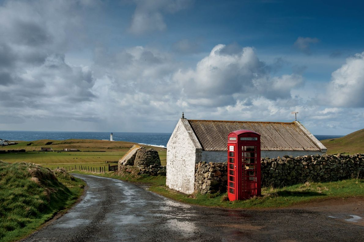 Halfway between Shetland and Orkney in the North Atlantic, Fair Isle has only one phone box—plenty ...