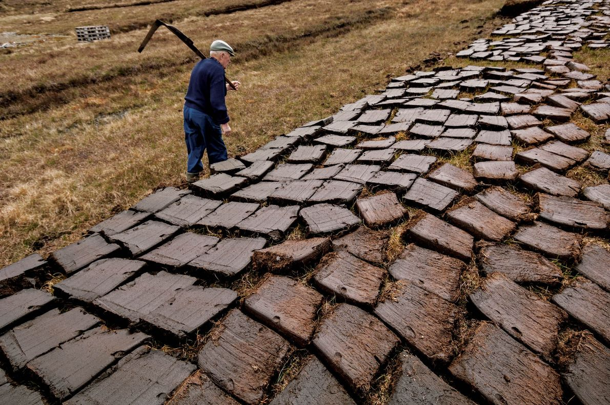 Duncan MacDonald has spent summers cutting peat blocks in the bogs of Lewis to burn in ...